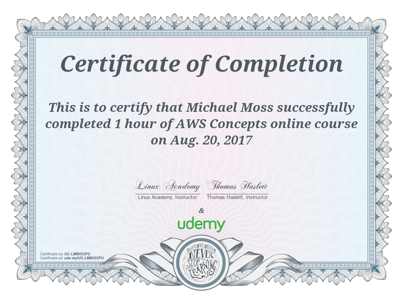 AWS Concepts Certificate