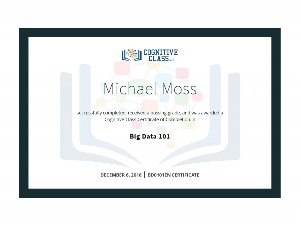 Big Data 101 Certificate