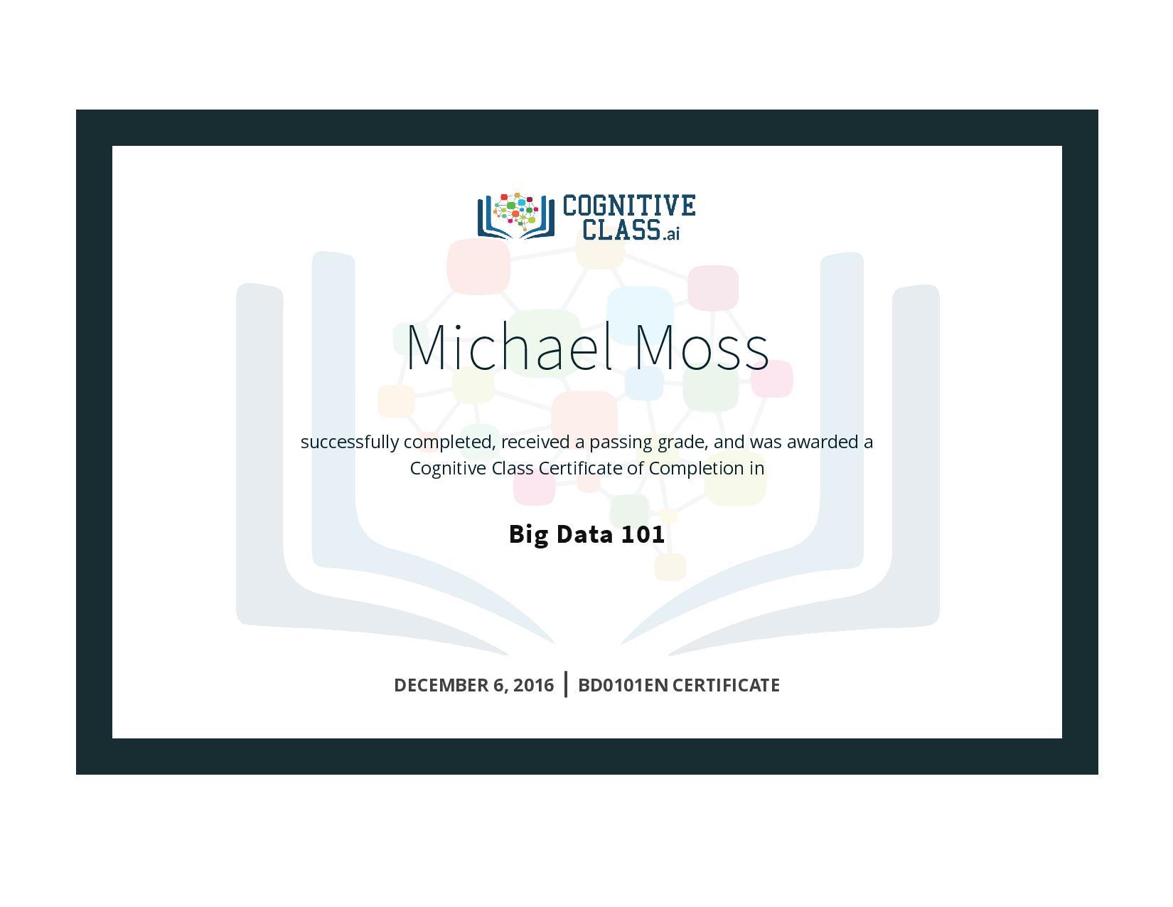 Big Data 101 Certificate