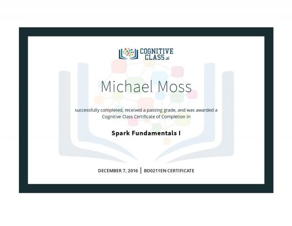 Spark Fundamentals 1 Certificate