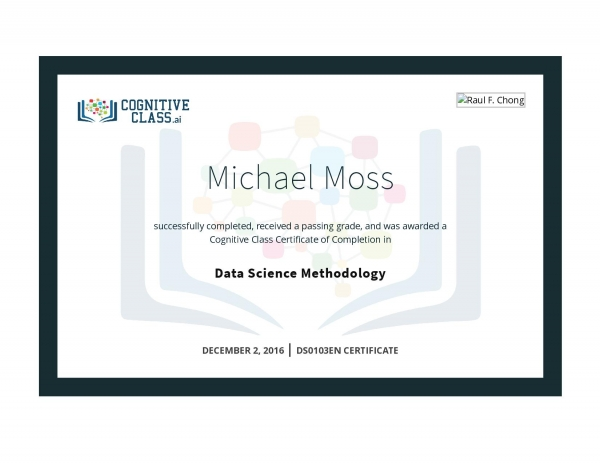 Data Science Methodology Certificate