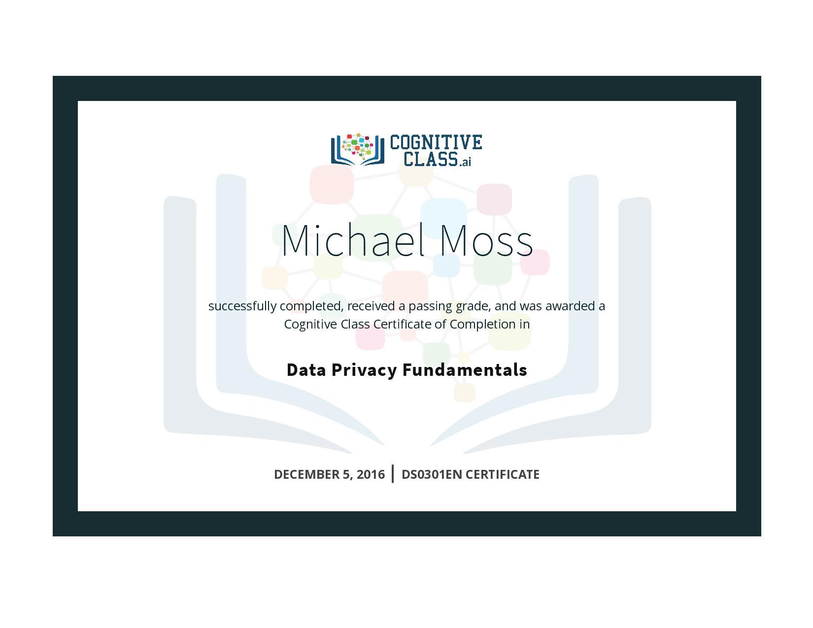 Data Privacy Fundamentals Certificate