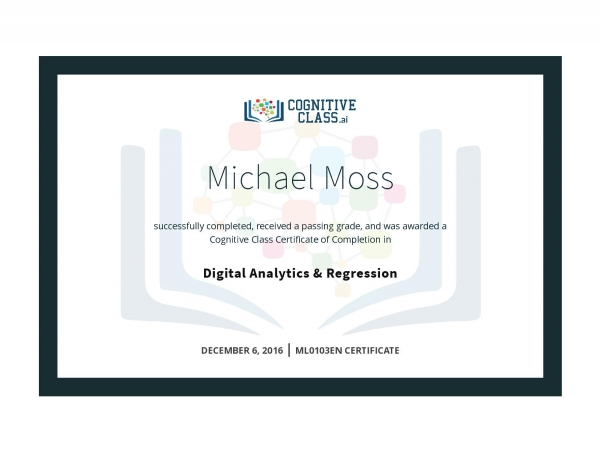 Digital Analytics & Regression Certificate