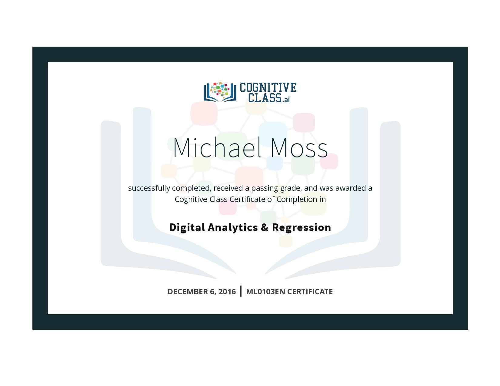 Digital Analytics & Regression Certificate