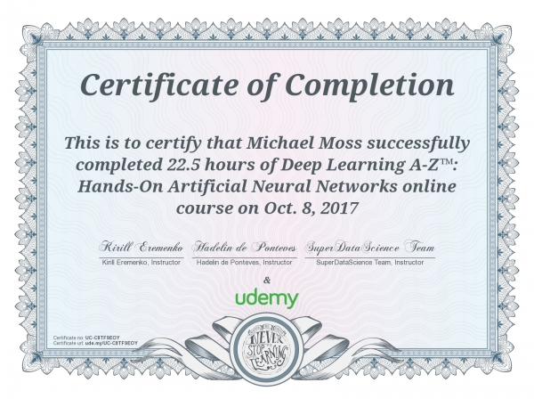 Deep Learning A-Z: Hands-On Artificial Neural Networks Certificate