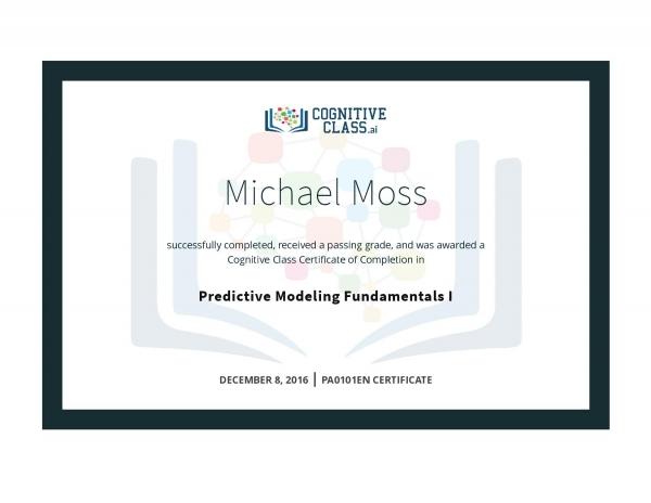 Predictive Modeling Fundamentals 1 Certificate