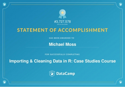 Importing & Cleaning Data in R - Case Studies Certificate