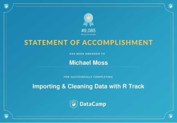Importing & Cleaning Data with R Certificate