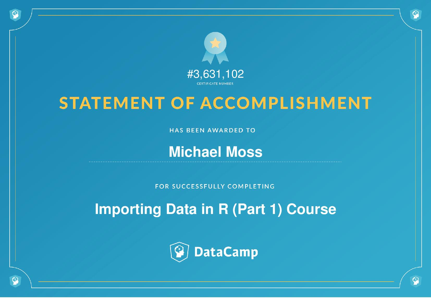 Importing Data in R (Part 1) Certificate