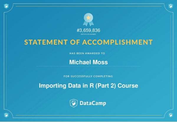 Importing Data in R (Part 2) Certificate