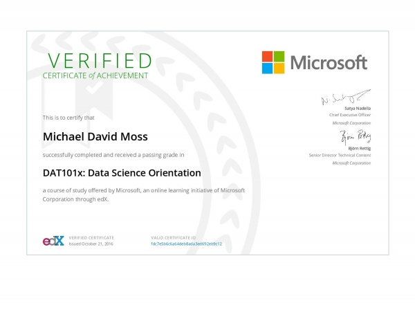 Data Science Orientation Certificate