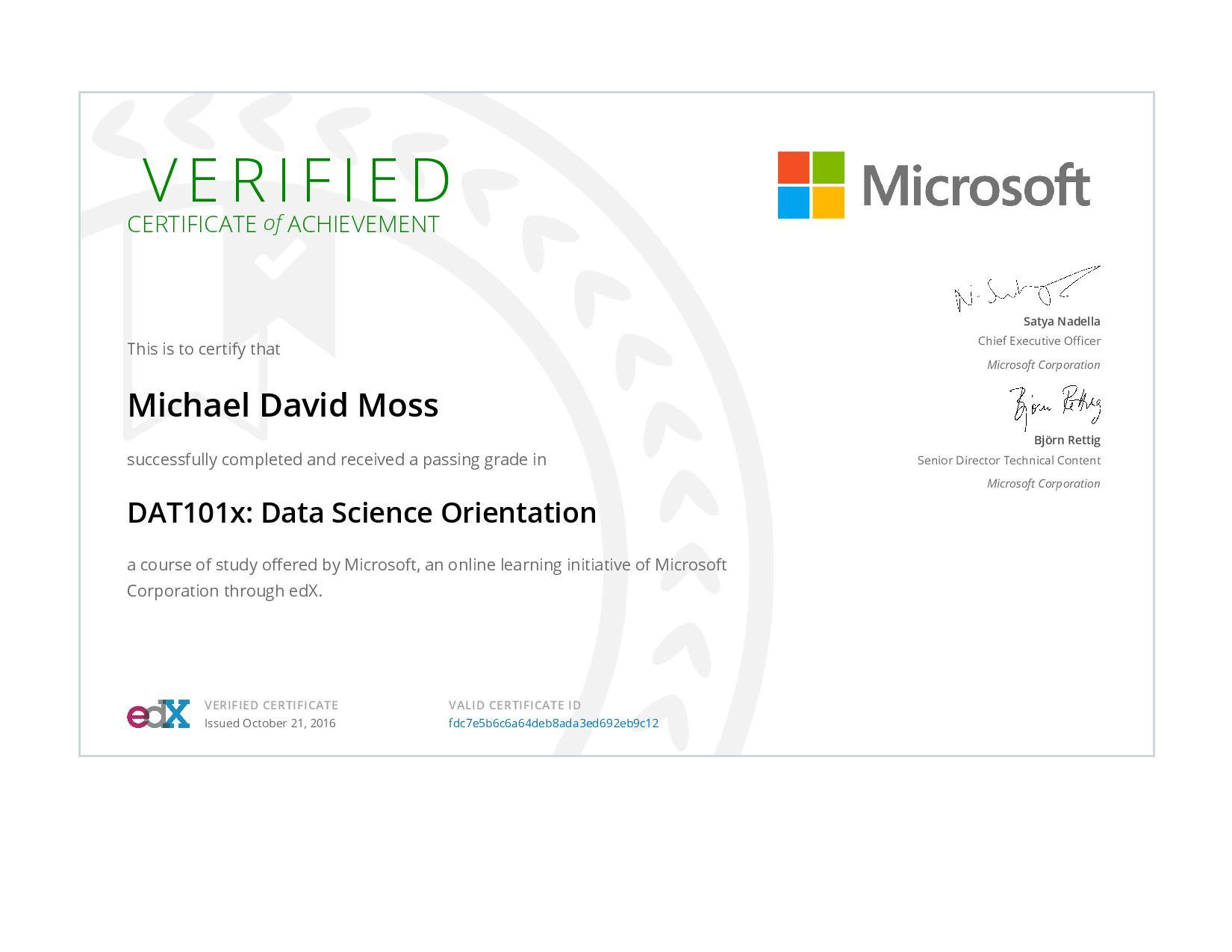 Data Science Orientation Certificate
