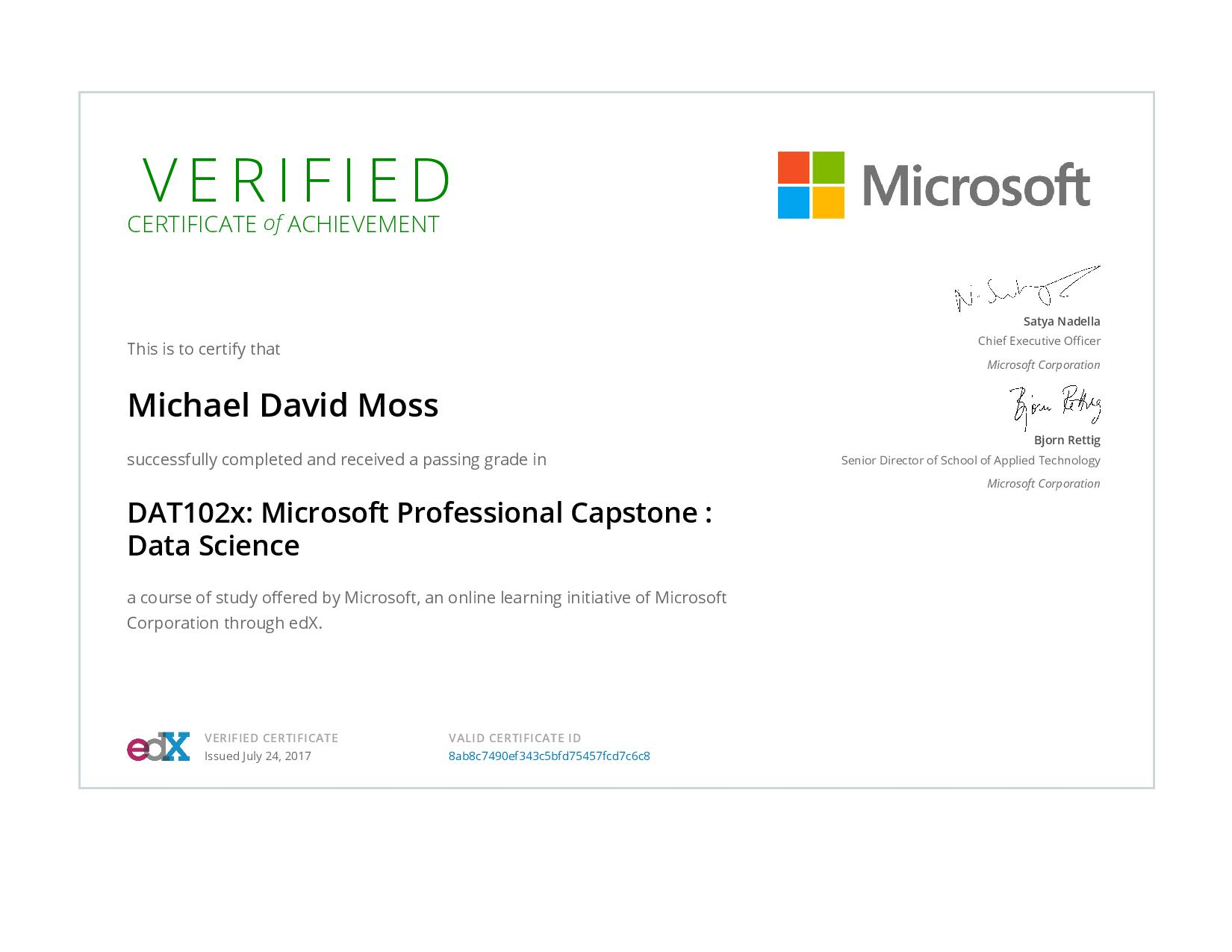 Microsoft Professional Capstone: Data Science Certificate