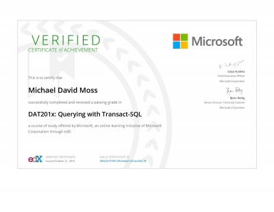 Querying with Transact-SQL Certificate