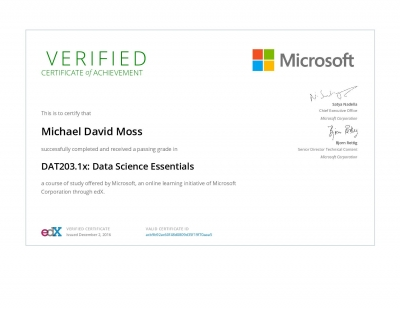 Data Science Essentials Certificate