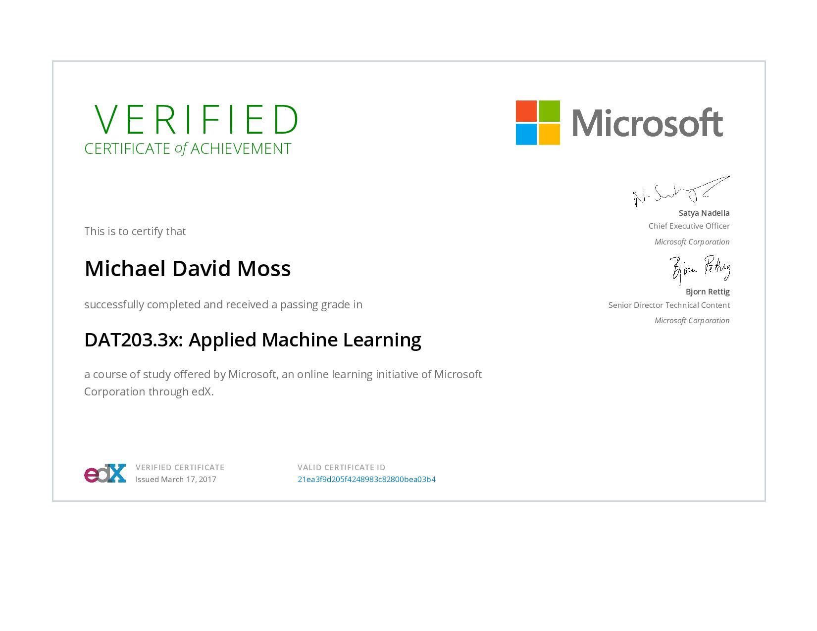Applied Machine Learning Michael D Moss Phd It Research