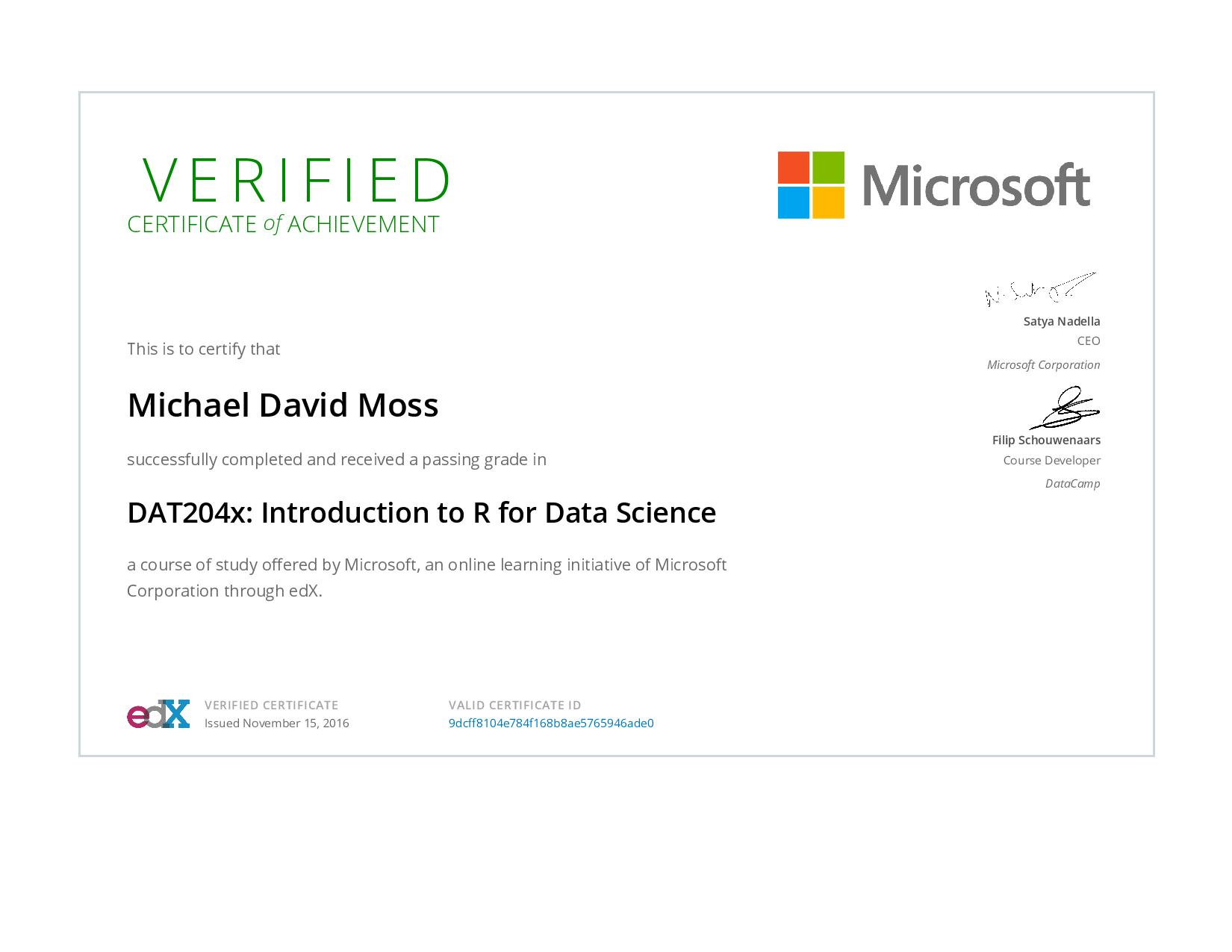 Introduction to R for Data Science Certificate