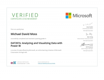 Analyzing and Visualizing Data with Power BI Certificate