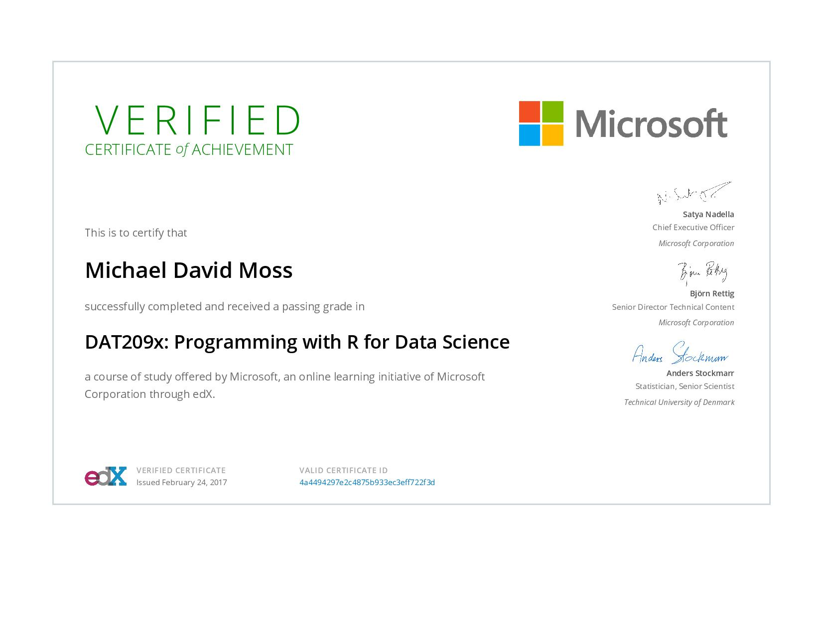 Programming with R for Data Science Certificate