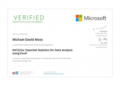 Essential Statistics for Data Analysis using Excel Certificate
