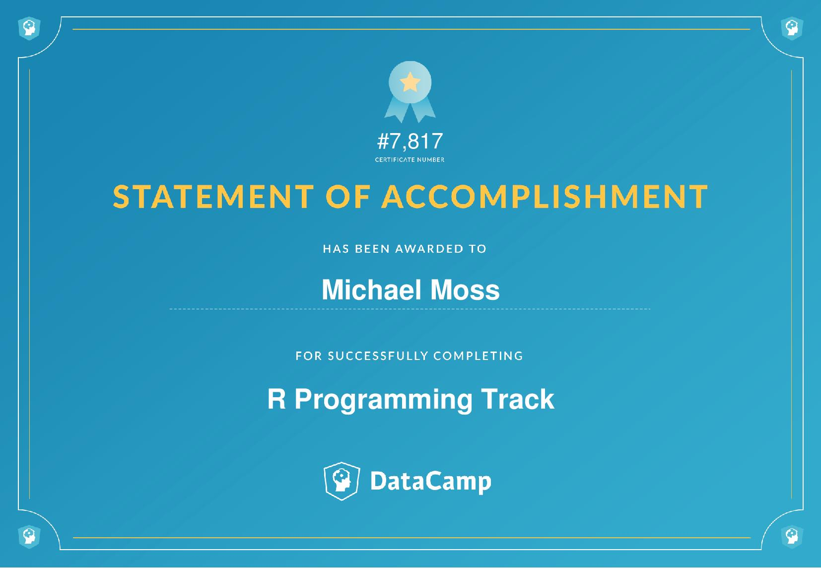 R Programming Track Certificate